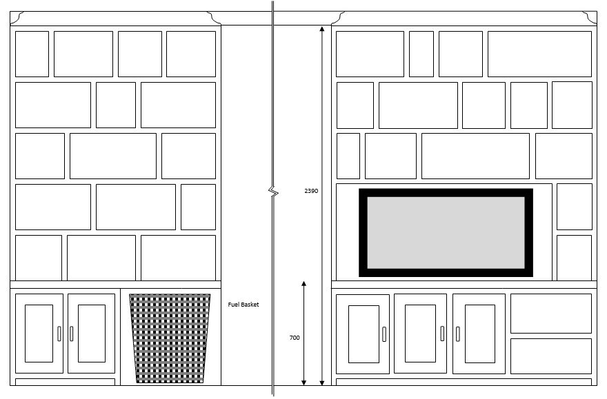TV & Display Cabinet Layout Drawing